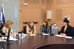 Left to right: MK Aliza Lavie, Chair, Committee for the Status of Women and General Equality; Yael German, Minister of Health; Dahlia Itzik, former Speaker of the Knesset; Dr. Donna Zfat-Zwas, Director of the Linda Joy Pollin Cardiovascular Wellness Center
