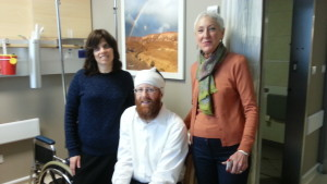 Left to right: Miri and Shmuel Goldstein with Mrs. Natan in the SWD Hospital Tower