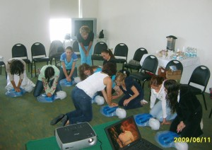 Participants had the opportunity to practice resuscitation technique using a chest model.