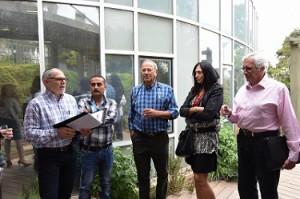 L to R: Moishe Sandler, President Hadassah International, Dr. Mahmud Shamally, Prof.  Eitan Kerem, Christina Cady-Gold , Harold Woolf, Vice President Hadassah Australia