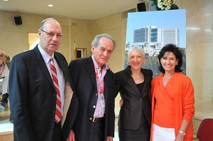 From left Hadassah Medical Organization Director General Ehud Kokia, Ruben Mischne, Hadassah National President Marcie Natan, Telma Mischne