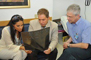 Left to right: Rasheda Ali, Prof. Dimitrios Karussis, and Prof. Tamir Ben-Hur, head of Neurology