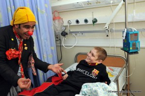 clown with barcelona boyred