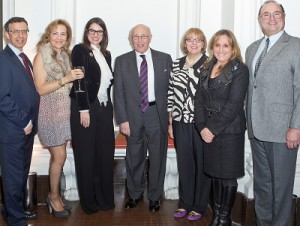 Award Ceremony in London: Left to right: Mark Addleman, Director Hadassah UK; Guilda Shamash, Past Chair Hadassah UK; Melissa Kaplan, Executive Director Hadassah International; Sir Ian Gainsford, Hadassah UK Advisory Committee and Hadassah International Board of Directors; Prof. Tamar Peretz  Interim Director HMO; Dr. Linda Greenwall, Hadassah UK Trustee and Jean-Jacques Roboh, Hadassah UK Trustee.