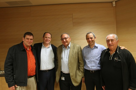 Mr. Shaike Altuvia-Former CEO Mifromal Factory and Formal Chairman of The Jerusalem branch of the Manufacturers Association of Israel; Mr. Arik Grebelsky-Member of the Jerusalem branch of the Manufacturers Association of Israel and HII BOT member; Prof. Zeev Rothstein-Director of Hadassah Hospital; Mr. Ran Tuttnauer-Chairman of The Jerusalem Branch of The Manufacturers Association of Israel; and Dr. Asher Salmon-Deputy Director of Hadassah Ei-Kerem Hospital